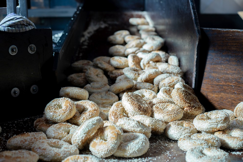 Pile of cooked bagels
