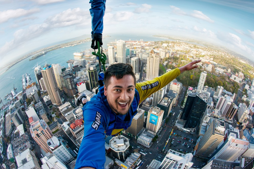 Person jumping from Sky Tower