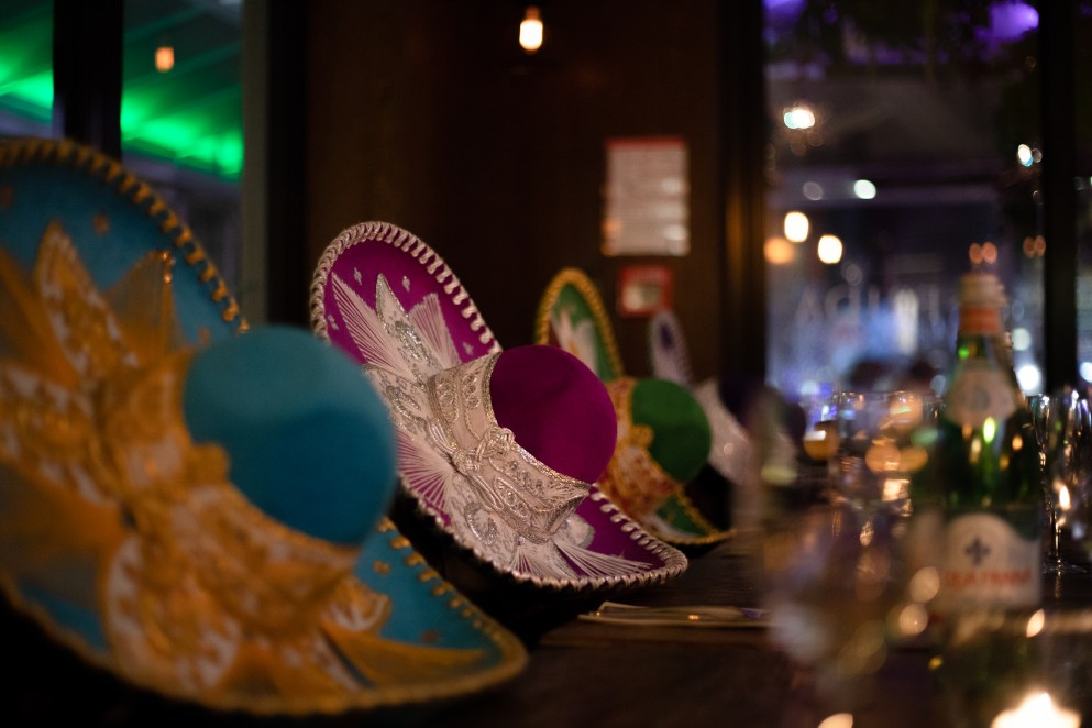 Hats lining the tables