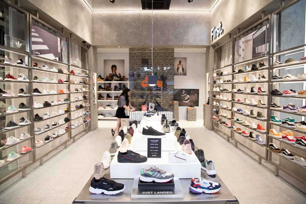 Wide view of shoe showroom