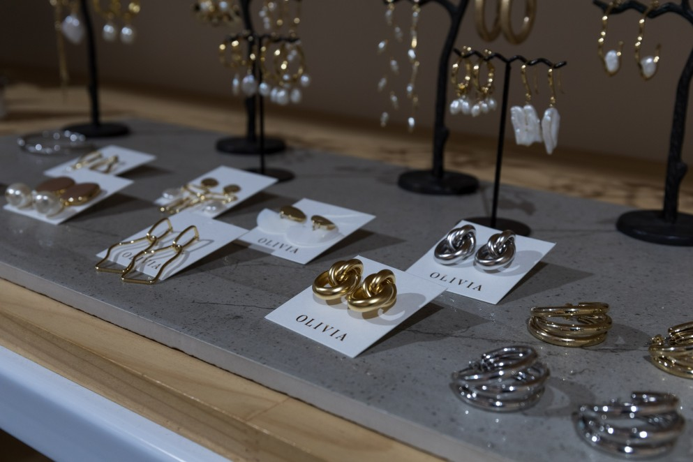 Earrings on display