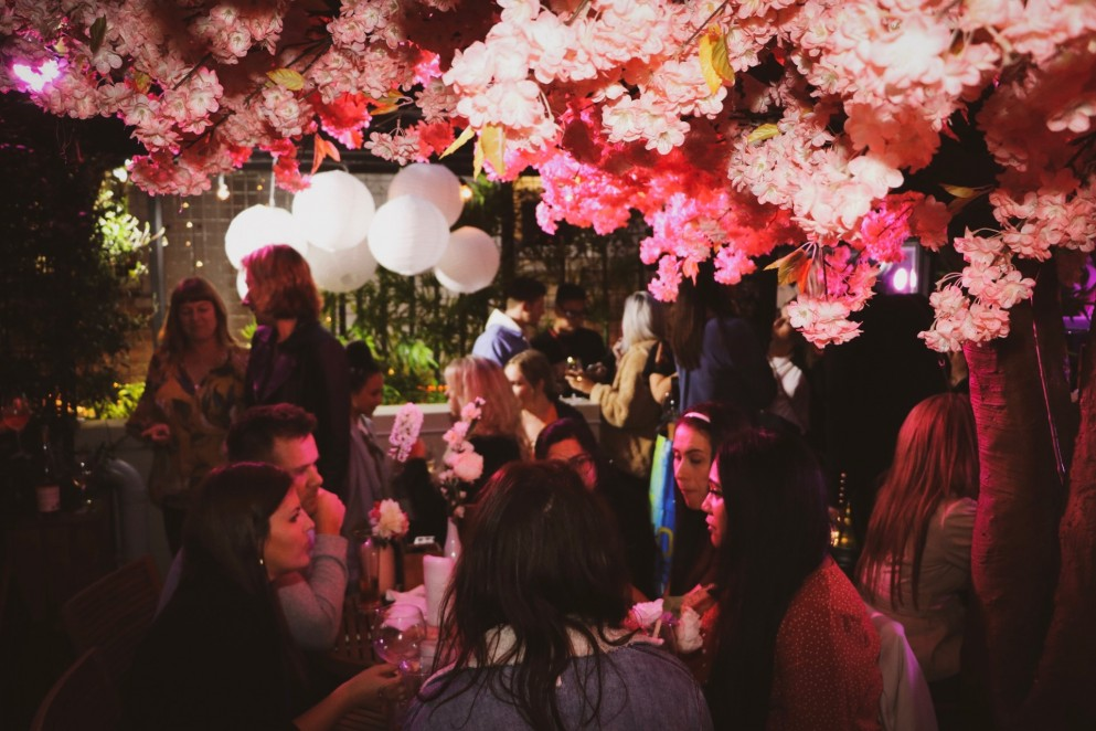 The Spring Blossom themed Pop-Up bar at The Glass Goose