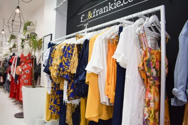 Summer dresses on clothing rack