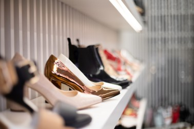 Womens shoes on shelf