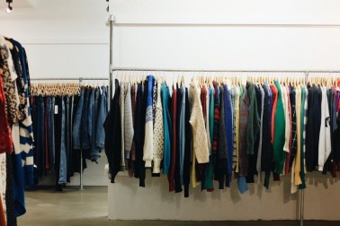 Vintage garments on rack
