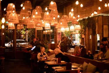 Interior of dim lit restaurant
