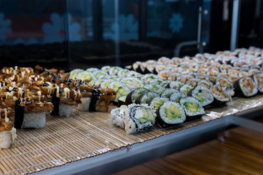 Sushi on display