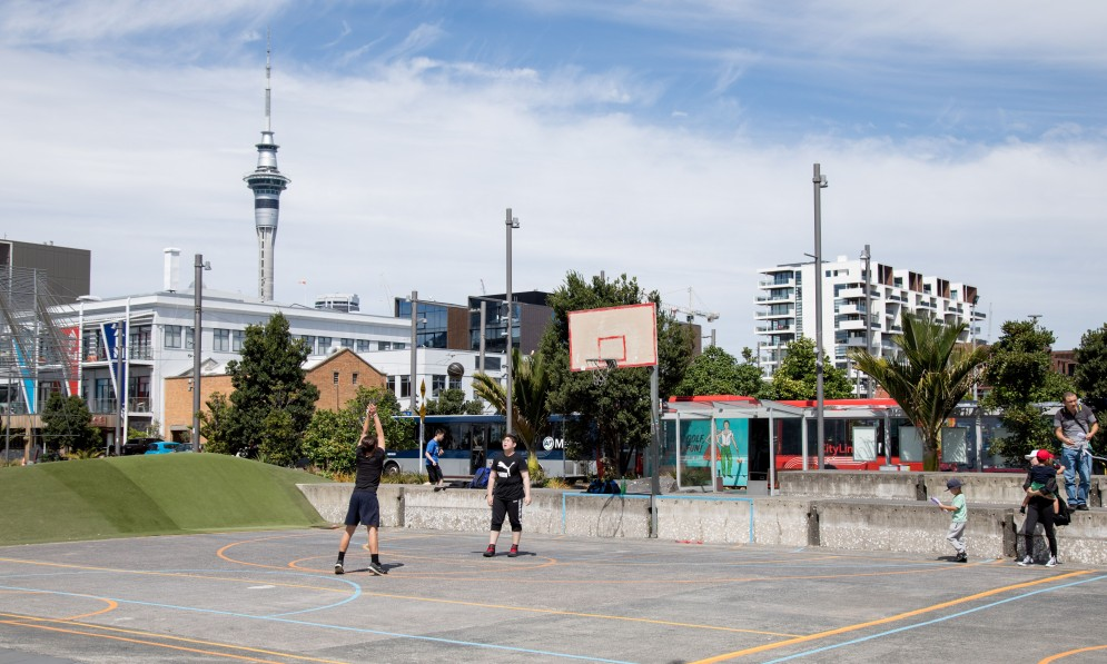 Basketball court with Sky Tower in background