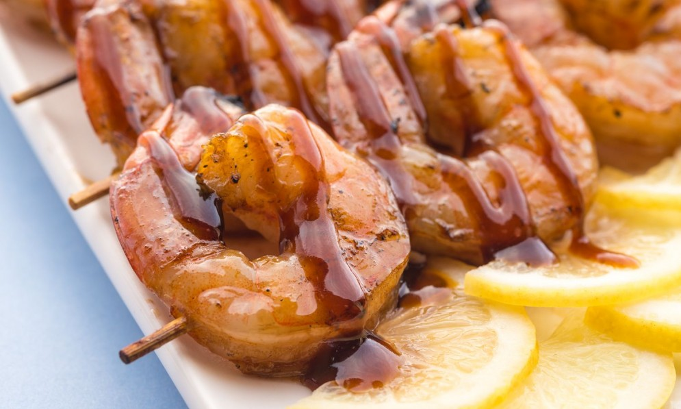 Grilled prawn skewers