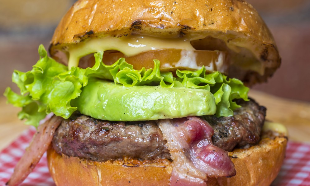 Thick burger with bacon and avocado