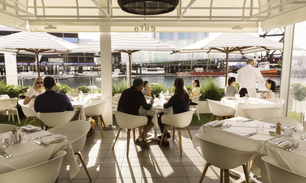 Outdoor seating to the waterfront
