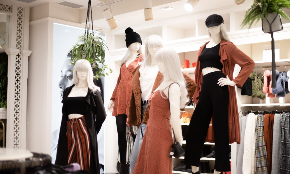 Garments on mannequins