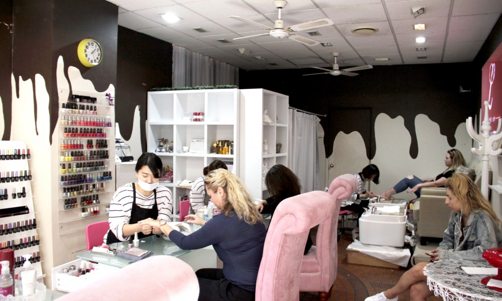 Women in a nail salon