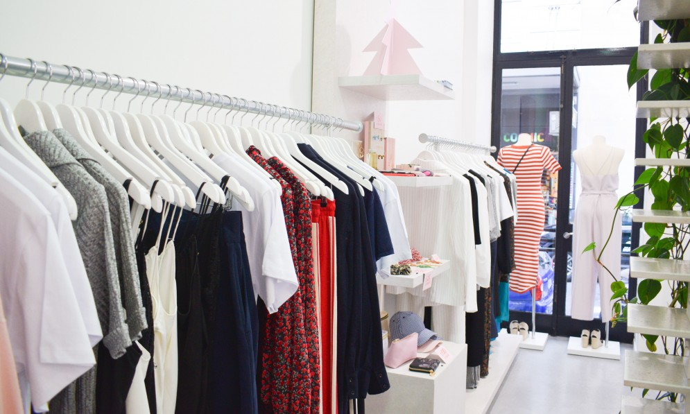 Garments displayed in showroom