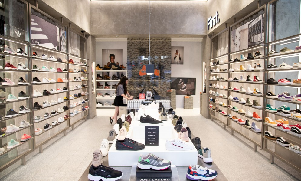 Interior of a shoe shop