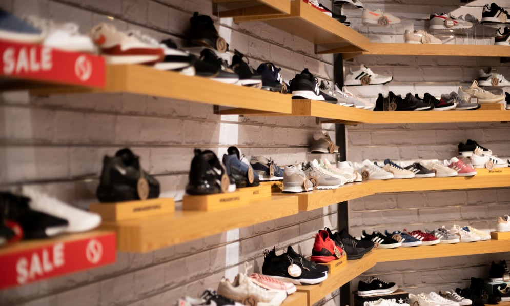 Shelf displaying shoes