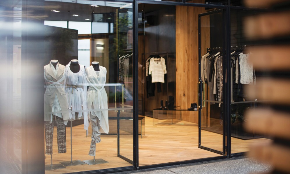 Garments in window display