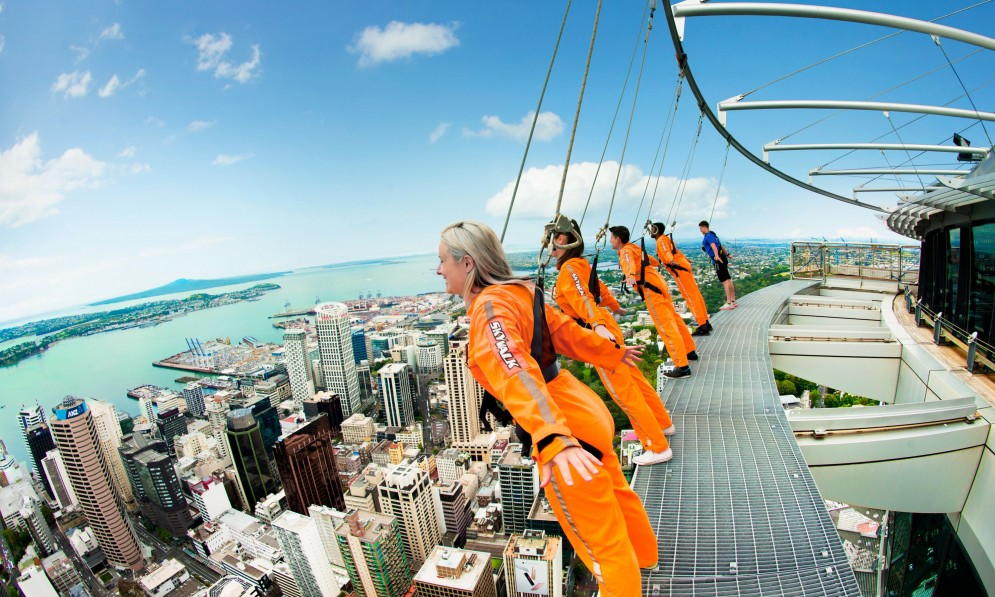 Tourists hanging over the Sky Tower