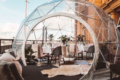 Harbourside dining in a luxury igloo